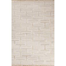 Flatweave Trellis, Chain And Tile Pattern Ivory/White Wool And Art Silk Area Rug (9X12)