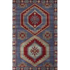 Contemporary Tribal Pattern Blue/Red Wool Area Rug (8X10)