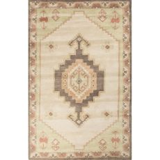 Contemporary Tribal Pattern Ivory/Green Wool Area Rug (9X12)