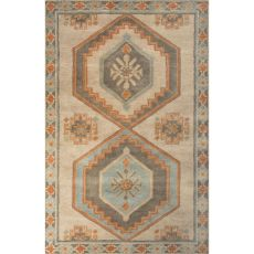 Contemporary Tribal Pattern Taupe/Orange Wool Area Rug (8X10)