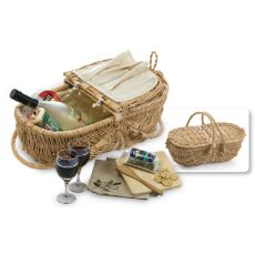 Wicker Eco Wine and Cheese Basket, Natural