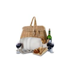 Wicker Four Person Eco Picnic Basket, Natural