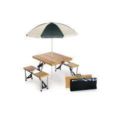Wood Folding Picnic Table W/ Umbrella