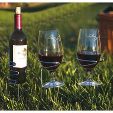 Silver Handy Holder Combo (2) Wine glasses, (1) Bottle Holders