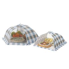 Blue Check Mesh Tents Set of 2