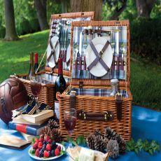 Newbury-Blue Plaid English Style Willow Basket Service F/4