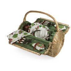 Barrel-Pine Green Picnic Basket/F2