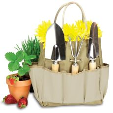 Garden Tote Large-Tan With Cream With 3 Pc Tools