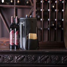 Duet-Black W/ Gray Trim - Dlx 2 Bottle Wine &Cheese Tote