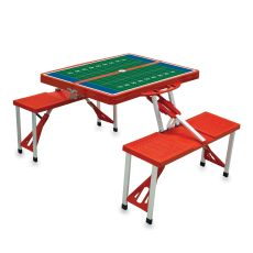 Red Picnic Table W/ Football Field Imprint