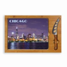 Icon- Rectangular Glass Top Cutting Board w/ knife Chicago