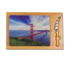 Icon- Rectangular Glass Top Cutting Board w/ knife  San Francisco