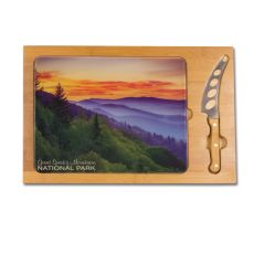 Icon- Rectangular Glass Top Cutting Board w/ knife  Smoky Mtns