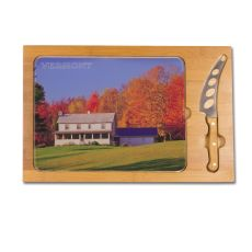 Icon- Rectangular Glass Top Cutting Board w/ knife  Vermont