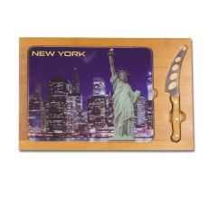 Icon- Rectangular Glass Top Cutting Board w/ knife  New York