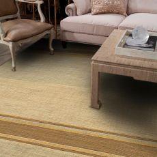Flatweave Stripes Pattern Blue/Brown Wool Area Rug (9X12)