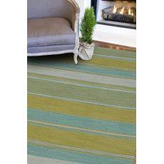 Flatweave Stripes Pattern Blue/Green Wool Area Rug (9X12)