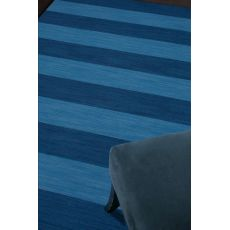 Flatweave Stripes Pattern Blue Wool Area Rug (9X12)