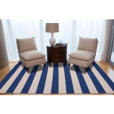 Flatweave Stripes Pattern Blue/Ivory Wool Area Rug (9X12)