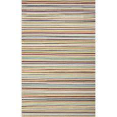 Flatweave Stripes Pattern Multi/Blue Wool Area Rug (9X12)