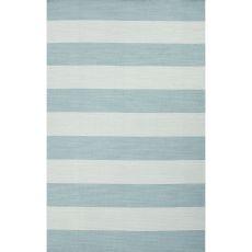 Flatweave Stripes Pattern Blue Wool Area Rug (8X10)