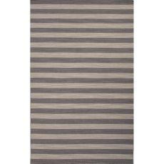 Flatweave Stripes Pattern Gray/Green Wool Area Rug (8X10)