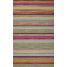 Flatweave Stripes Pattern Pink/Purple Wool Area Rug (8X10)