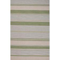 Flatweave Stripes Pattern Blue/Green Wool Area Rug (8X10)