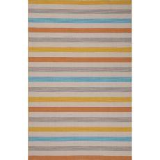 Flatweave Stripes Pattern Yellow/Blue Wool Area Rug (8X10)