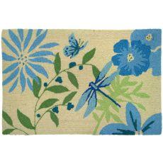 "Blue Butterfly & Dragonfly Polypropylene Rug, 22""X34"""