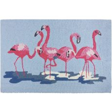 "Flamingos Blue Polypropylene Rug, 22""X34"""