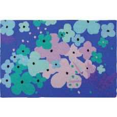 "Flowers On Blue Polypropylene Rug, 22""X34"""