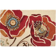 "Moroccan Red Polypropylene Rug, 22""X34"""