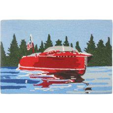 Vintage Motor Boat Polyester Rug, 22 x 34 in.