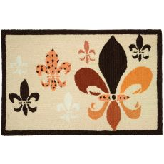 "Fancy Fleur De Lis (Black & Tan) Polyester Rug, 22""X34"""