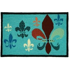 "Fancy Fleur De Lis (Teal & Brown) Polyester Rug, 22""X34"""