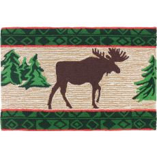 Moose In Pine Forest Polyester Rug, 22 x 34 in.