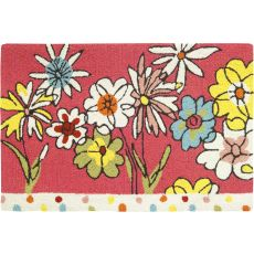 Polka Dots & Flowers Indoor Outdoor Rug, 22 x 34 in.