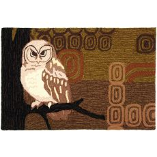 Retro Owl Polyester Rug, 22 x 34 in.