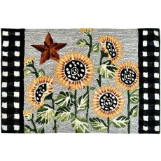 Sunflowers and Checks Indoor Accent Rugs 22 x 34 In.