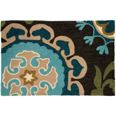 "Suzanni Blue Polyester Rug, 22""X34"""