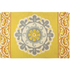 "Grey & Gold Medallion Polyester Rug, 22""X34"""