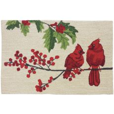 "Cardinals On Winter Berry Branch Polyester Rug, 22""X34"""