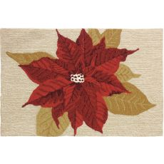 "Holiday Poinsettia Polyester Rug, 22""X34"""