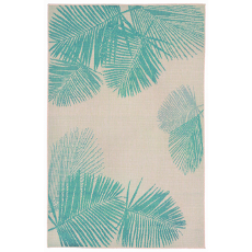 Terrace Palm Turquoise Indoor Outdoor Rug