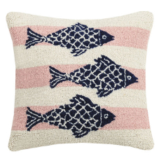 Pink Stripe School of Fish Hook Pillow