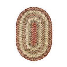 "Homespice Decor 20"" x 30"" Oval Pumpkin Pie Cotton Braided Rug"