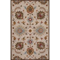 Classic Floral & Leaves Pattern Ivory/Brown Wool Area Rug (8X11)