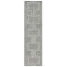 "Boxes Grey Rug 27"" x 8'"