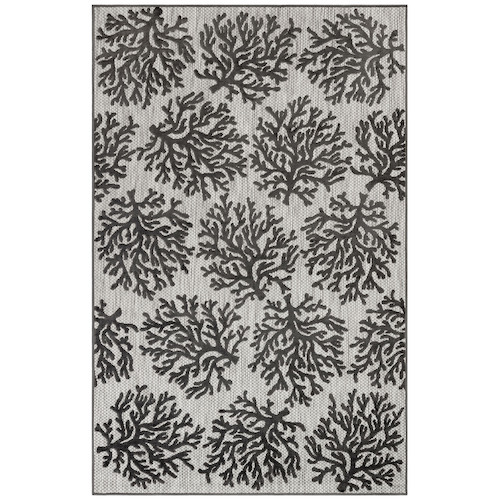 "Liora Manne Rialto Coral Indoor/Outdoor Rug Charcoal 23""X7'6"""